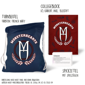 Turnbeutel für Monsterhearts Produktfoto mit College-Block als grobe Darstellung